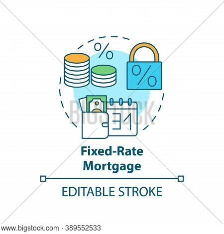 Fixed-rate Mortgage Concept Icon. Primary Loan Type Idea Thin Line Illustration. Fully Amortizing Mo