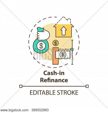Cash-in Refinance Concept Icon. Mortgage Refinance Type Idea Thin Line Illustration. Paying Down Mor