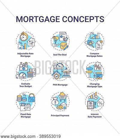 Mortgage Concept Icons Set. Loan Housing Idea Thin Line Rgb Color Illustrations. Adjustable-rate Mor