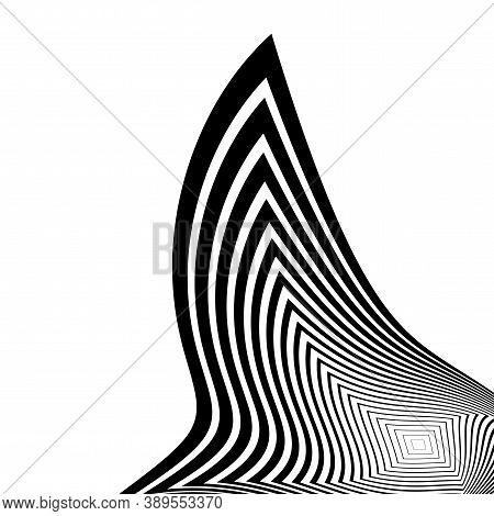 Design Monochrome Stripy Illusion Background. Abstract Backdrop. Vector-art Illustration
