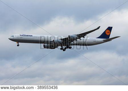 Frankfurt / Germany - December 4, 2012: Lufthansa Airbus A340-600 D-aihh Passenger Plane Landing At