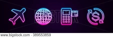 Set Line Plane, Globe With Flying Plane, Pos Terminal And Return Of Investment. Glowing Neon Icon. V