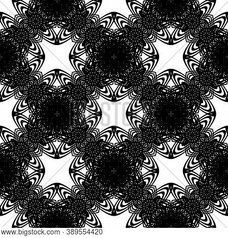 Design Seamless Decorative Pattern. Abstract Monochrome Lacy Background. Vector Art