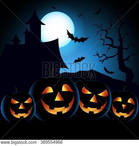 Halloween Poster With Scary Pumpkins In Blue Black Design Vector Eps 10