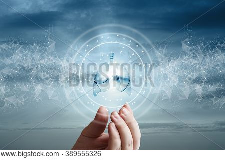 The Hand Shows The Lungs Against The Background Of The Sky And A Network Of Connections.