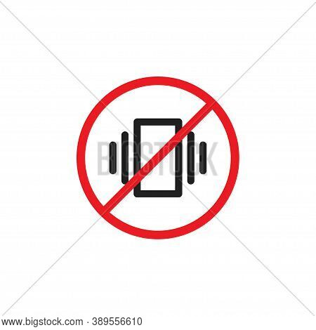 Prohibited Phone Sign Icon. Cell Ban, Silence Concept Simbol In Vector Flat