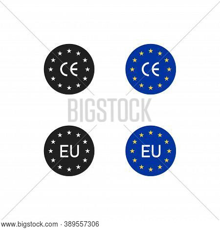 Ce Mark, Eu Icon Logo. Europe Sign, Europian Flag Symbol. Euro Sertificate In Vector Flat