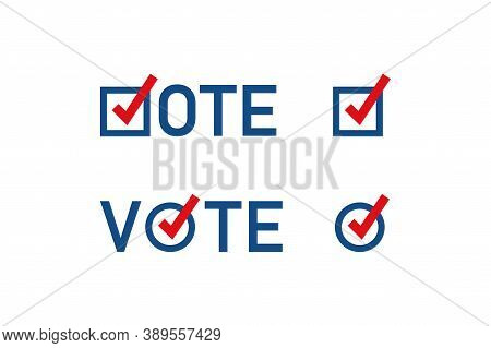 Usa Vote Icon. Ballot Sign. I Voted Concept Illustration. American Button In Vector Flat