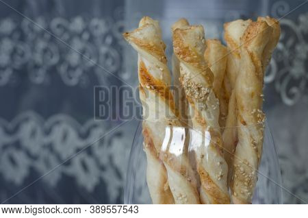 Puff Sticks Snack With Cheese And Spices