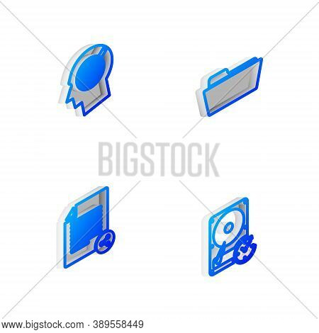 Set Isometric Line Folder, Head Hunting Concept, Share File And Hard Disk Drive With Clockwise Icon.