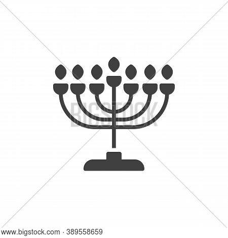 Hanukkah Menorah Vector Icon. Filled Flat Sign For Mobile Concept And Web Design. Menorah Candlestic