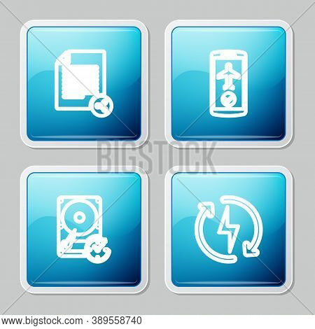 Set Line Share File, Flight Mode In The Mobile, Hard Disk Drive With Clockwise And Recharging Icon.