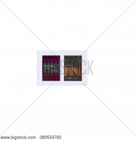 Black Cover Design Template Set. Gold Abstract Lines On Maroon Background. Alluring Cover Design. Da