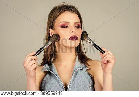 Beauty Hairdresser Salon. Lipstick And Eyeshadow. Sexuality. Skincare Cosmetics. Fashion Makeup Visa