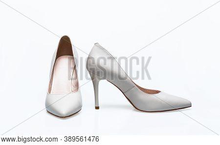 Fashionable Women Shoes Isolated On White Background. White High Heel Women Shoes On White Backgroun