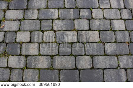 Texture Of Concrete Pavement Or Sidewalk With Paving Slabs, Top View. Blocks Of The Sidewalk Pattern