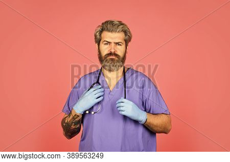 Free Medicine Concept. Professional Doctor. Insurance. Stay Healthy. Doctor With Stethoscope At Hosp