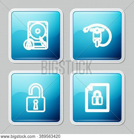 Set Line Hard Disk Drive And Lock, Electric Scooter, Open Padlock And Document Icon. Vector