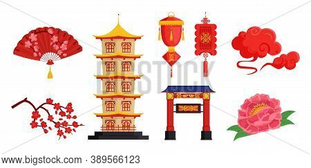 Chinese New Year Collection. Vector Set. Greeting Card, Poster Elements. Pagoda, Silk Fan, Gate, Blo