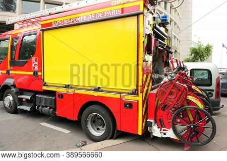 Paris, France. October 04. 2020. Fire Truck From The City's Sapper Brigade. Response Equipment With