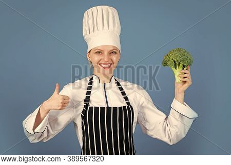 Balanced Diet Works Wonders. Broccoli Vegetable Is Full Of Vitamin. Chef Woman Cook Broccoli. Health