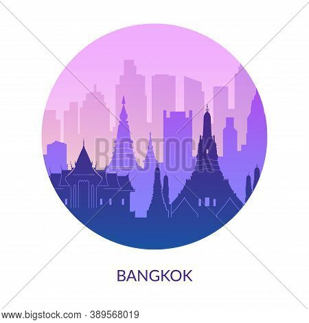 Bangkok, Thailand Famous City Scape View. Flat Well Known Silhouettes.