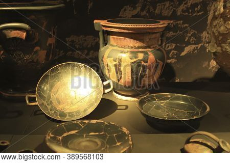 Alicante, Spain- October 8, 2020: Iberian Ceramic Pottery And Vases Painted By Hand Exhibited At The