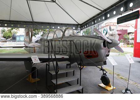 Istanbul, Turkey - September 20, 2020: Beechcraft T34 Mentor Airplane In Rahmi M. Koc Industrial Mus