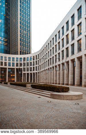 Frankfurt, Germany - January 22, 2019: Commercial finance building in Frankfurt, Germany.Germany.