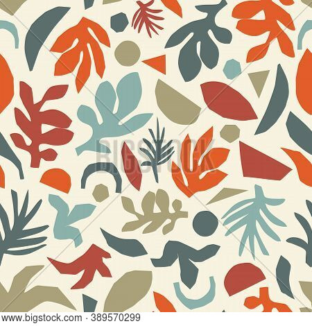 Fall Leaf Collage Seamless Vector Pattern. Autumn Florals Repeating Background Scandinavian Style. C