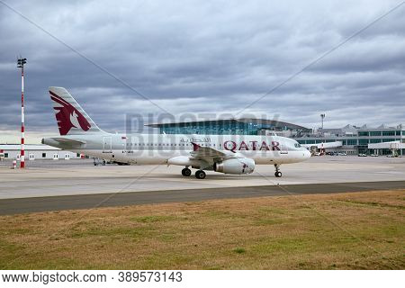 BUDAPEST, HUNGARY - DECEMBER 1, 2016: Airliner of Qatar Airways taxiing at Budapest Liszt Ferenc Airport