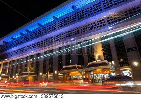 Taipei, Taiwan - Oct 1st, 2020: night scene of Taipei Main Station in Taipei, Taiwan