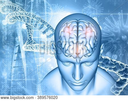 3D render of a medical background with male and brain, DNA strands and virus cells