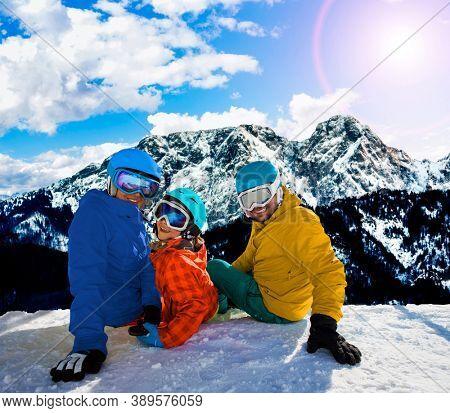 Ski in Zakopane, Groomed ski track under Giewont, Tatry, Poland.