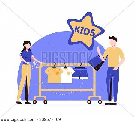 Showroom With Kids Clothes On Hangers, Designer And Customers With Shopping Bags. Kids Fashion, Baby