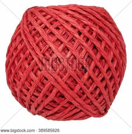 Coil of red decorative paper cord rope isolated on white background