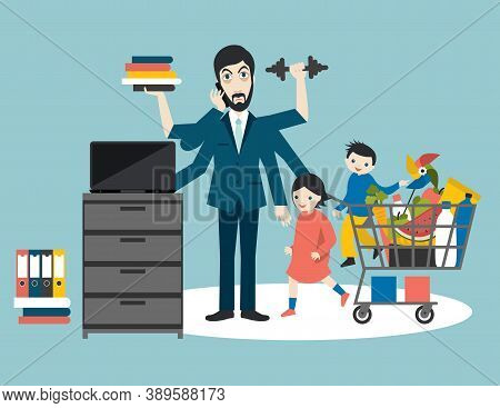 Busy Multitasking Man, Father, Dad, Daddy,  Businessman, Worker. Young Man With Children, Shopping,