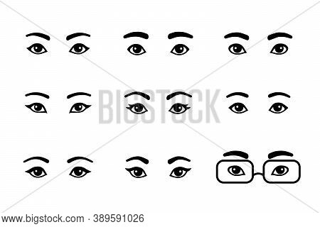 Black And White Set Of Different Male And Female Eyes. Asian, European, African Cartoon Simple Pairs