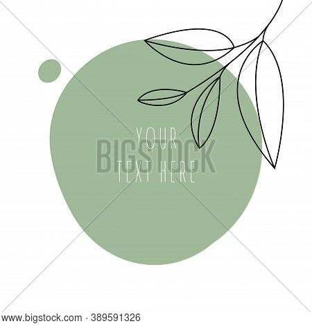 Abstract Line Art Leaf. Green Tea Contour Drawing. Minimal Art Leaf On Abstract Shapes Backgroud. Mo