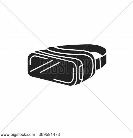 Vr Glasses Black Glyph Icon. Virtual Reality Glasses Or Goggles. Type Of Eyewear Which Functions As