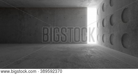 Abstract Empty, Modern Concrete Room With Lighting From Back Wall And Circular Structured Side Wall