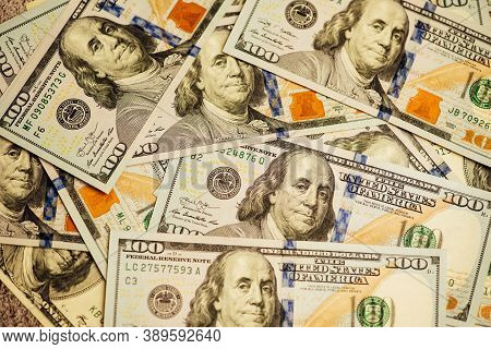 Lot Of One Hundred Dollar Bills Close-up Background