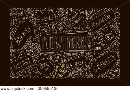 Hand-drawn Illustration Of New York City Map. With Handwritten Names Of Districts And Attractions. B