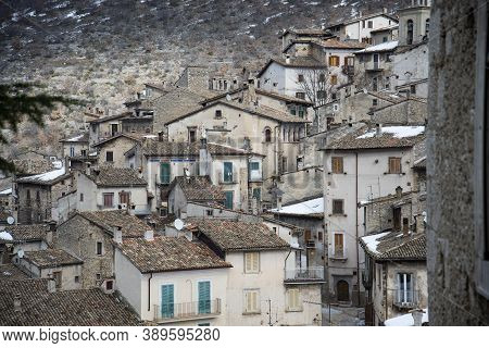 Scanno, Italy - February 15, 2015: The View Of The Old Village Scanno In Abruzzi Region, Italy