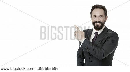 Businessman Or Manager Shows Direction. Look At That Advertisement. Pointing At Business Advertiseme