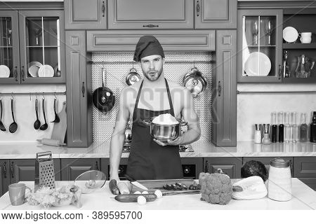Flavors Of Nature. Bearded Man Enjoy Natural Food. Attractive Chef Prepare Veggies For Cooking. Cook