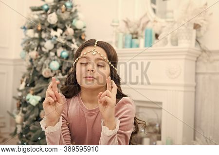 Hope Concept. Dreamy Baby Christmas Wish. Making Wish. Waiting For Santa Claus. Adorable Girl Making