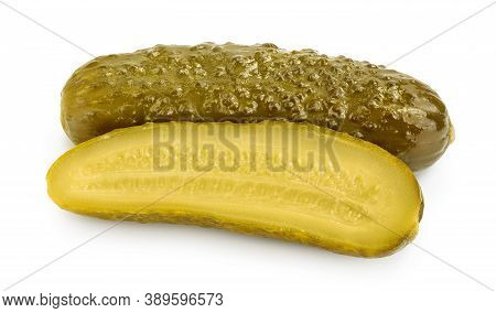 Marinated Pickled Cucumber Isolated On White Background With Clipping Path And Full Depth Of Field