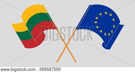 Crossed Flags Of Lithuania And The Eu. Official Colors. Correct Proportion. Vector Illustration