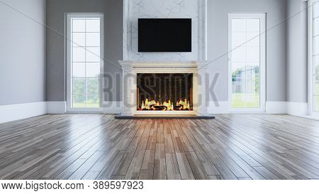 Marble Fireplace Concept Designed In Classical Architecture In The Empty Living Room With Wooden Flo